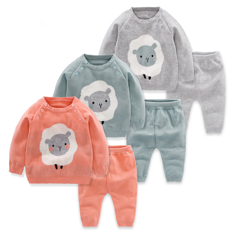 2pcs Baby Boy Set Wool Knitted Cotton Sweater Girls Boys Sets Infant Warm Pullover Pants Suit Newborns Toddler Clothing Sets t100 children sweater winter wool girl child cartoon thick knitted girls cardigan warm sweater long sleeve toddler cardigan