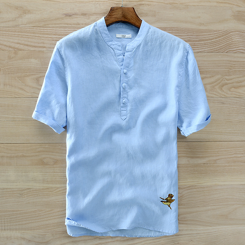 2018 New Design French Style Short-sleeved Linen Shirts Men Casual Breathable Summer Shirt Men Sky Blue Chest 120cm Big Camiseta