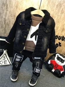 Image 1 - New Children Kids Boys Clothing Sets Autumn Winter Baby Boys Fur collar denim jacket + sweater + jeans 3Pcs boys Clothes set