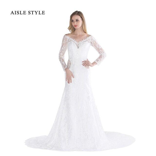 Vintage Brautkleider Off Schulter V ausschnitt, Langen Ärmeln Fit ...