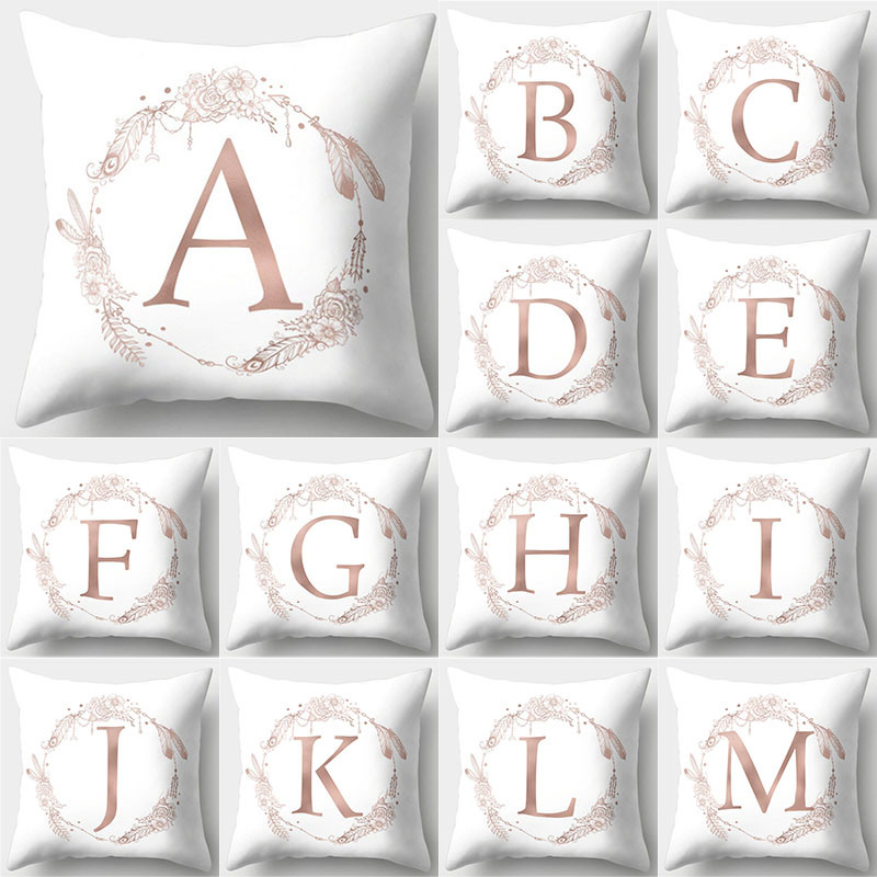 1Pcs Rose Gold Decorative Pillow English Alphabet Letter Cushion Cover Polyester Pillow Case Sofa Kussenhoes Home Decor 40803