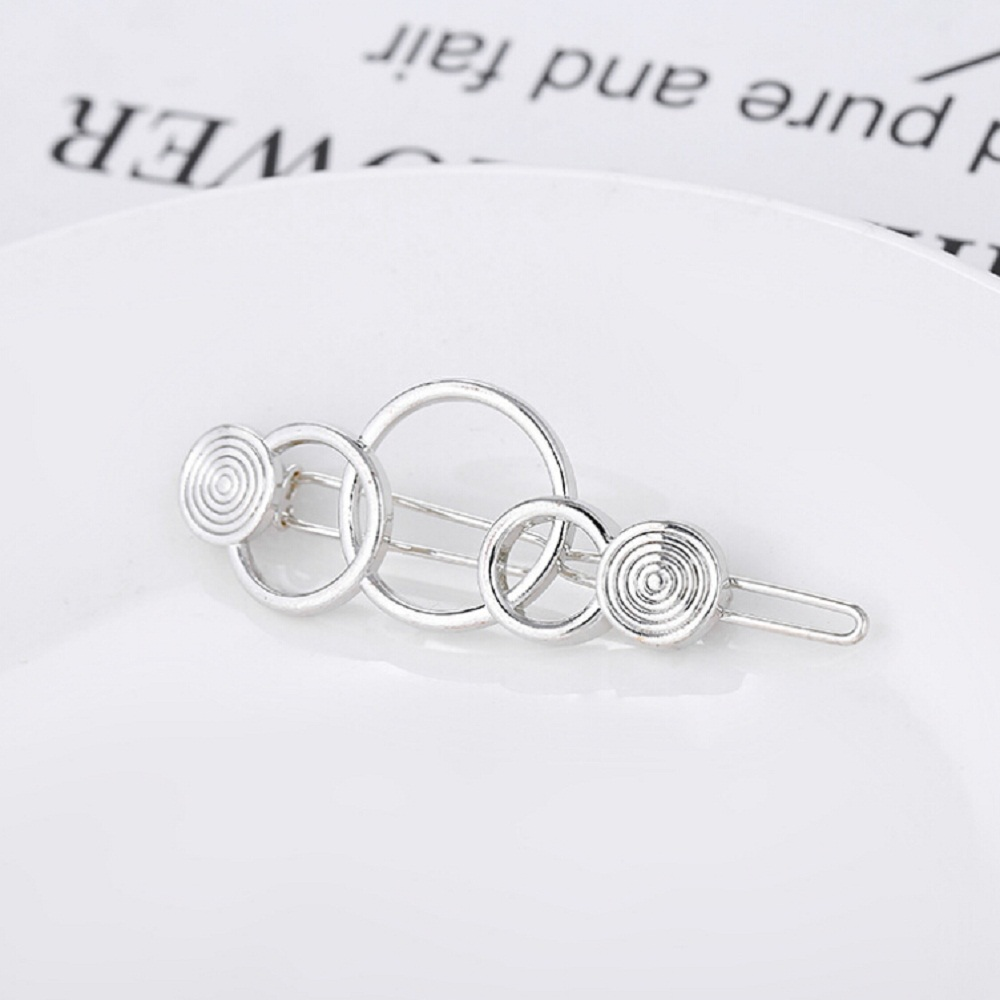 Fashion Hollow Metal Hairpin Geometry 3- ring Hair Clip Women Girls Hair Pin Jewelry Hair Accessories