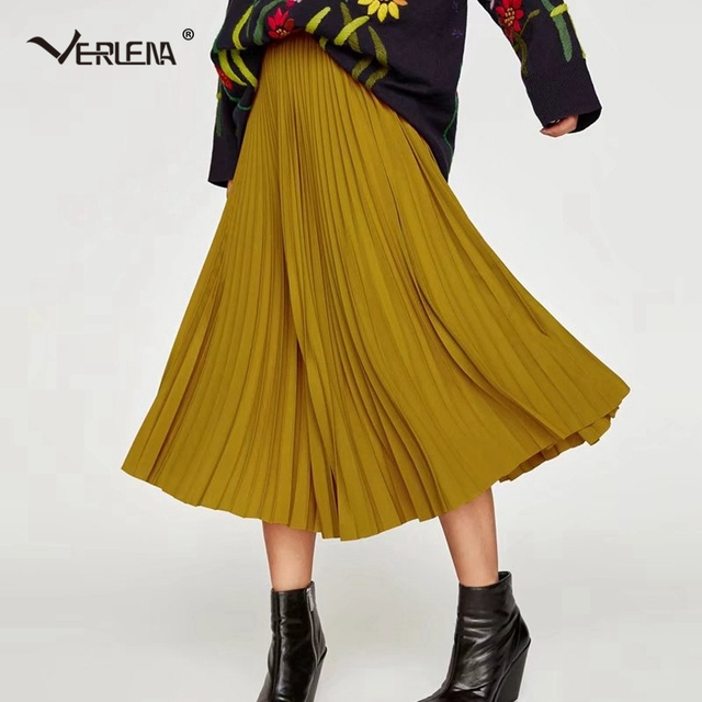 2dad722f3f Verlena 2019 Plisse Slip Pleated Skirt Mustard Yellow High Waist Bohemian Chiffon  Skirts Elastic Waist Mid-Calf Skirts Womens