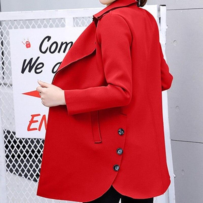 Manteau De Double vent Longues Taille Couleur Long 2018 A249 Bouche Manches À Printemps Femmes Vêtements Solide Khaki Moyen Coupe Automne navy Rangée armygreen Grande red xTqFqzav