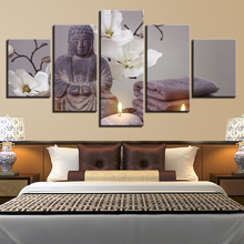 Canvas Printed Modular Home Decor Picture Wall Art Frame 5 Panel Flower Figure Of Buddha Living Room HD Modern Posters Painting