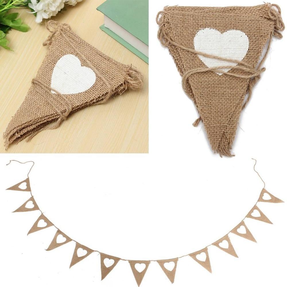 13 stks / set liefde hart jute touw vlas driehoek Banner bruiloft - Feestversiering en feestartikelen - Foto 2