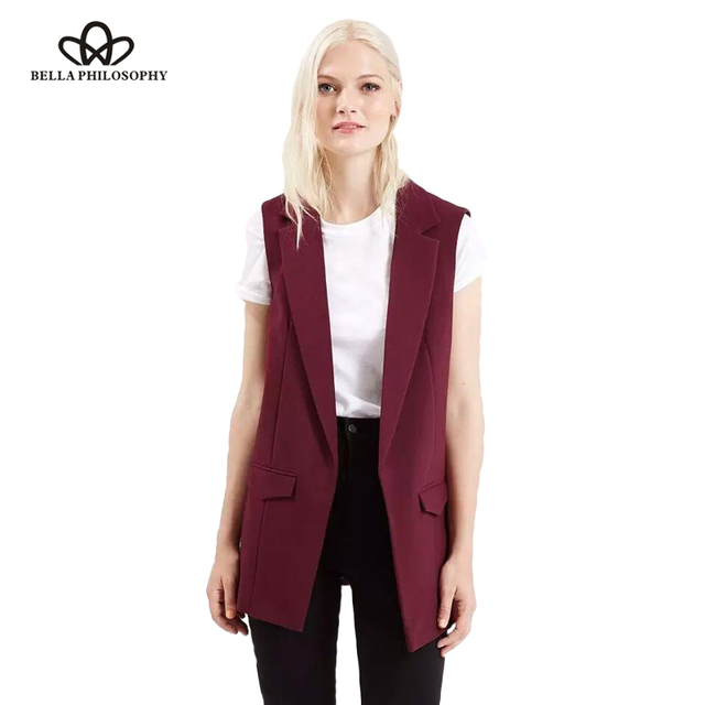 Bella philosophy 2017 primavera nova moda simples cor sólida nenhum botão blazer jaquetas curtas vinho branco preto vermelho amarelo