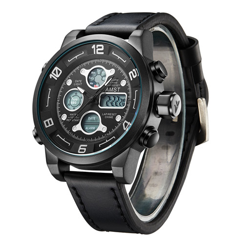 2018 AMST Brand Quartz Watch for men casual LED digital sports watches multi-function waterproof army military clock 2020-1-2 weide quartz casual watch army military sports watch waterproof back multiple time zone alarm men watches alarm clock berloques