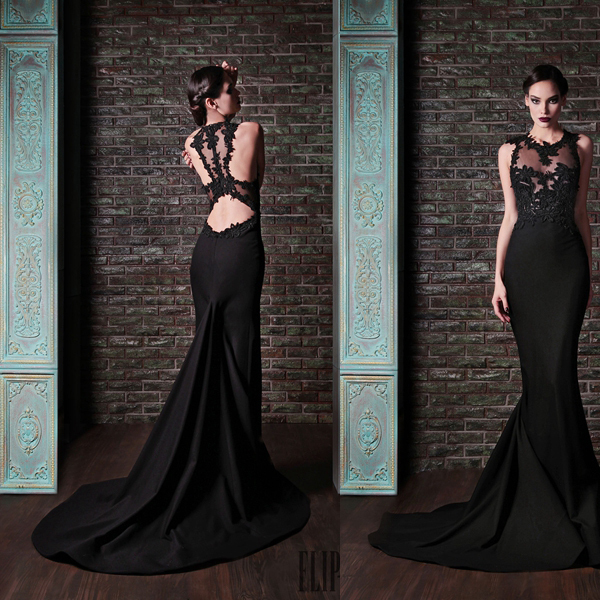 2017 Special Occasion Gowns Long Tail Y Lace And Chiffon Black Mermaid Evening Dress
