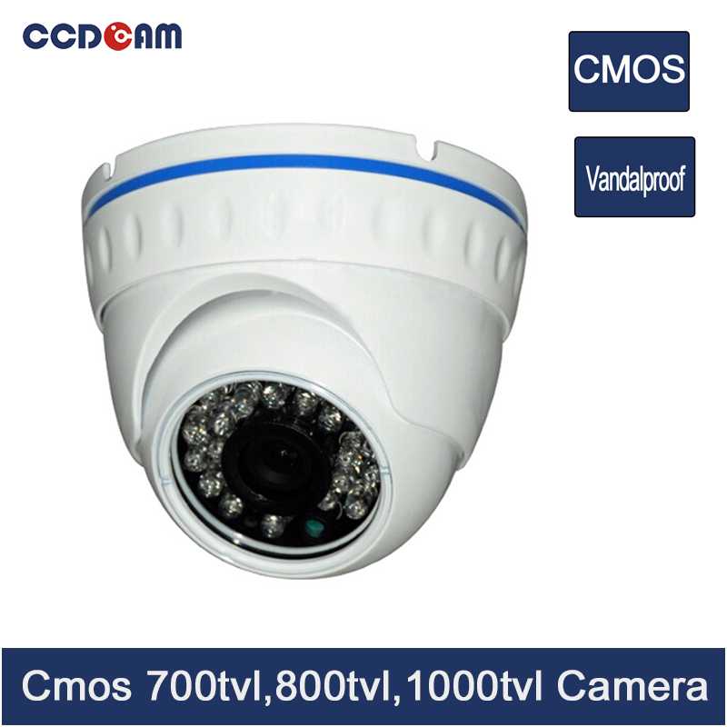 CCDCAM cmos 700/ 800/ 1000 tvl cctv dome camera vandalproof home security system wide angle 700 tvl 24pcs ir led color indoor dome cctv security camera cmos security camera 700tvl for dvr system