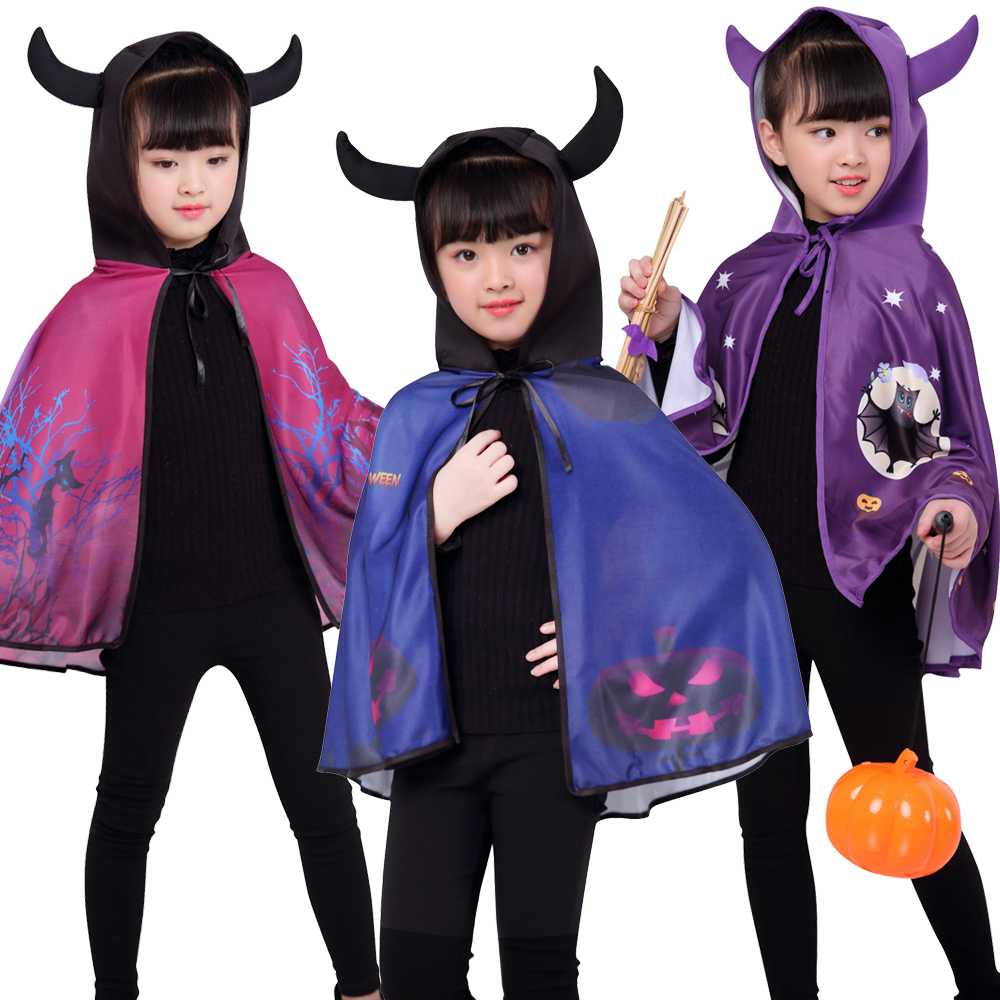Halloween Children's Horn cap cloak  Girl Performance Costume Sorcerer Witch Cloak Set Ghost Pumpkin Cloak Dress UP
