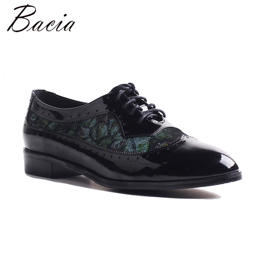 Bacia Newest Women Genuine Leather Shoes BLACK Color Flats Handmade High Quality Shoes Casual Solid Slip-on Flats 2018 MWB005 x9055 1 casual genuine leather flats shoes elevate high 6cm for fashion boys match jeans color brown black sz37 43