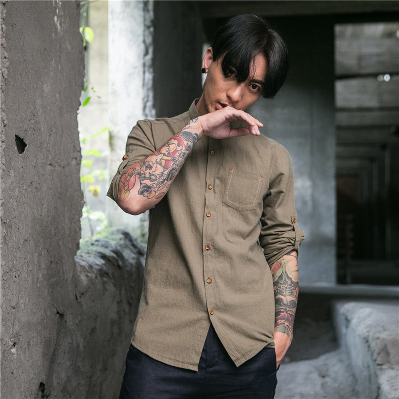 2017 New Arrival Causal Long Sleeve Shirt Male Linen New Style Pure Cotton Shirt Men Turn Down Collar Breathable Shirts ...