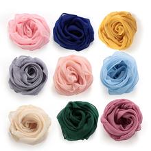 Women Girl Solid Color Soft Chiffon Silk Square Scarf Wrap Shawl Elegant Neckerchief Retro Head Neck