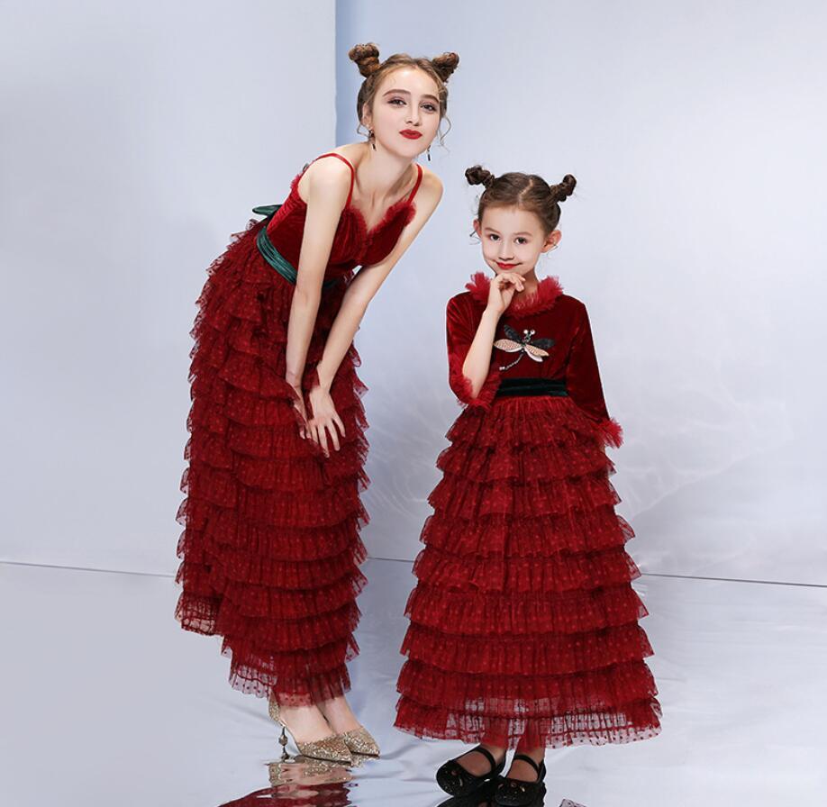 Mãe Vestido de Noiva Meninas Vestidos Filha da Mãe 2019 Verão Jogo Vestido de Festa Olhar Família Mamãe Menina Outfits HW2385 - 5