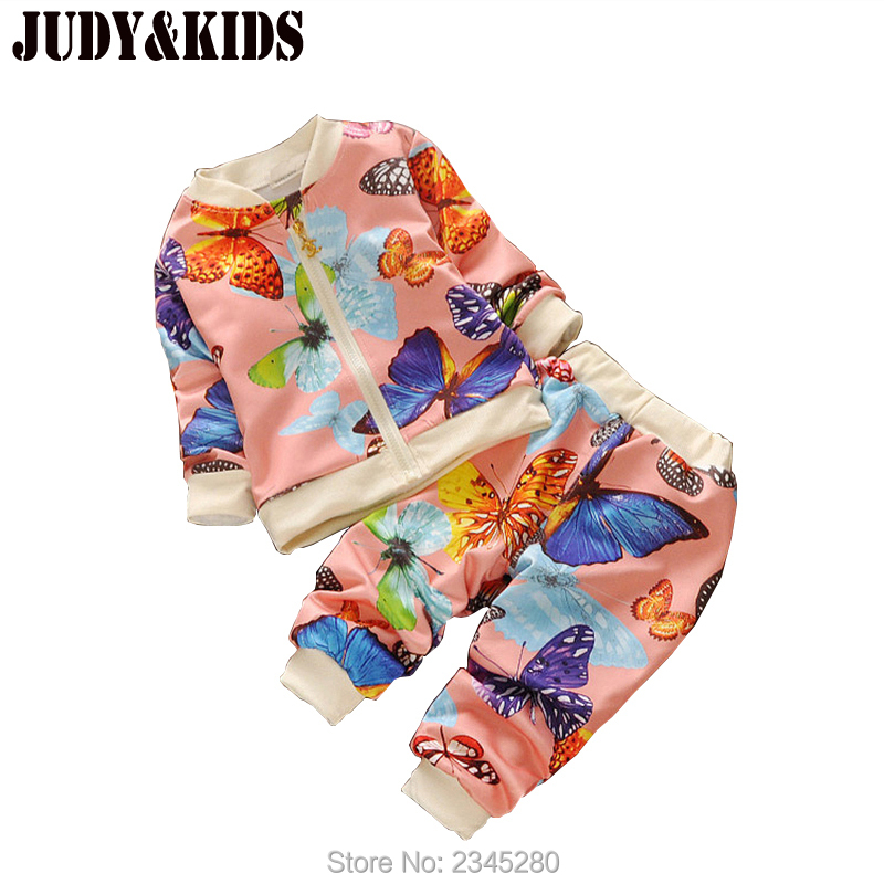 Baby Costume For Girls Clothes Sets Baby Coverall Winter Set Suits Flower Butterfly Print Childrens Sports Suits Jacket Suits