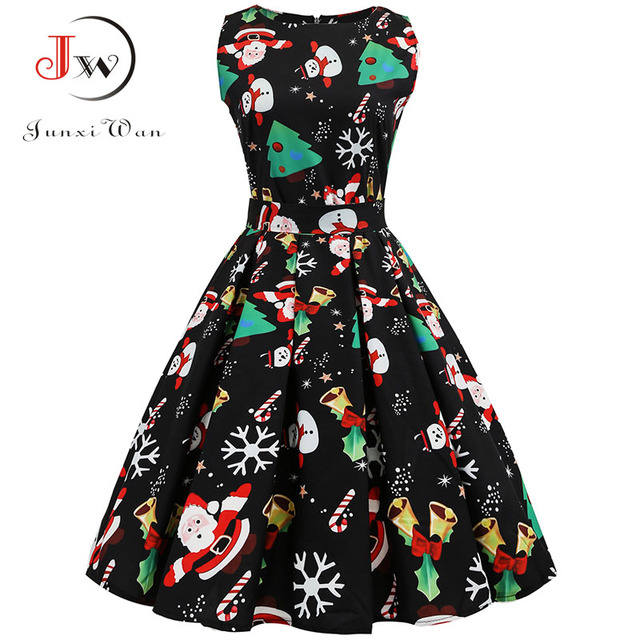 Christmas Dress Women 2018 Floral Print Slim Vintage Dress Casual Sleeveless