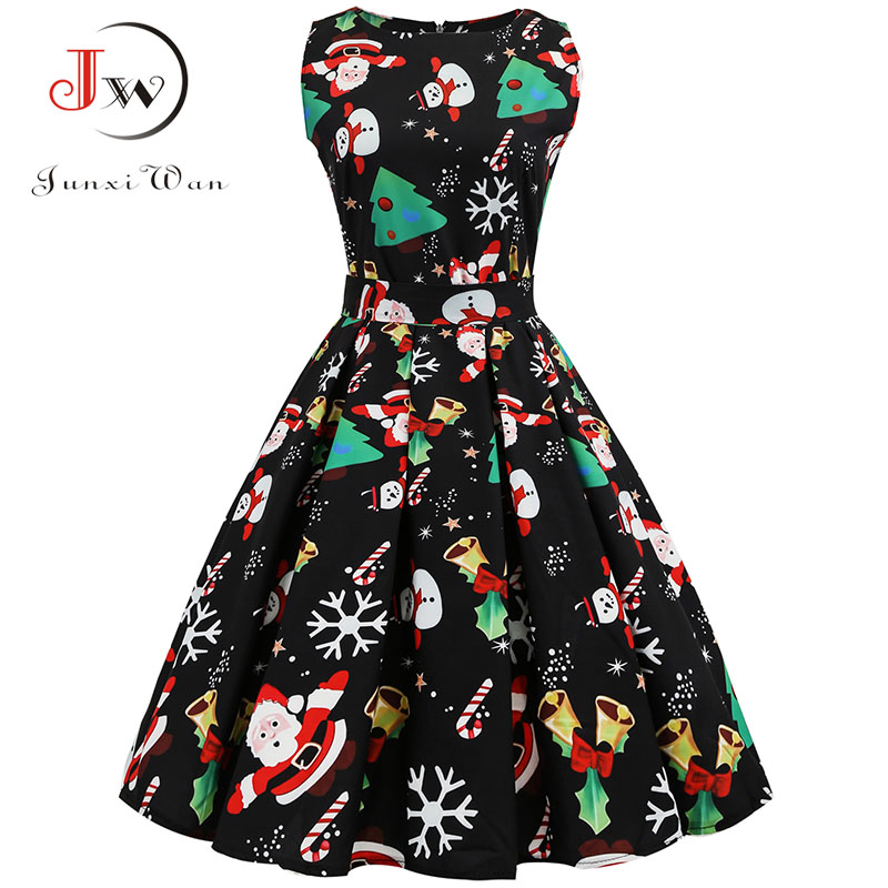S 33xl vestido de natal feminino floral impressão magro vestido vintage casual sem mangas elegante midi vestidos de festa robe