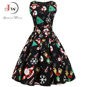 Christmas Dress Women  Floral Print Slim Vintage Dress Casual Sleeveless Elegant Midi Party Dresses Vestidos Robe
