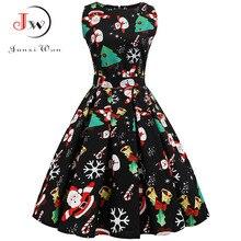 S ~ 3XL 크리스마스 드레스 여성 꽃 프린트 슬림 빈티지 드레스 캐주얼 민소매 우아한 미디 파티 드레스 Vestidos Robe