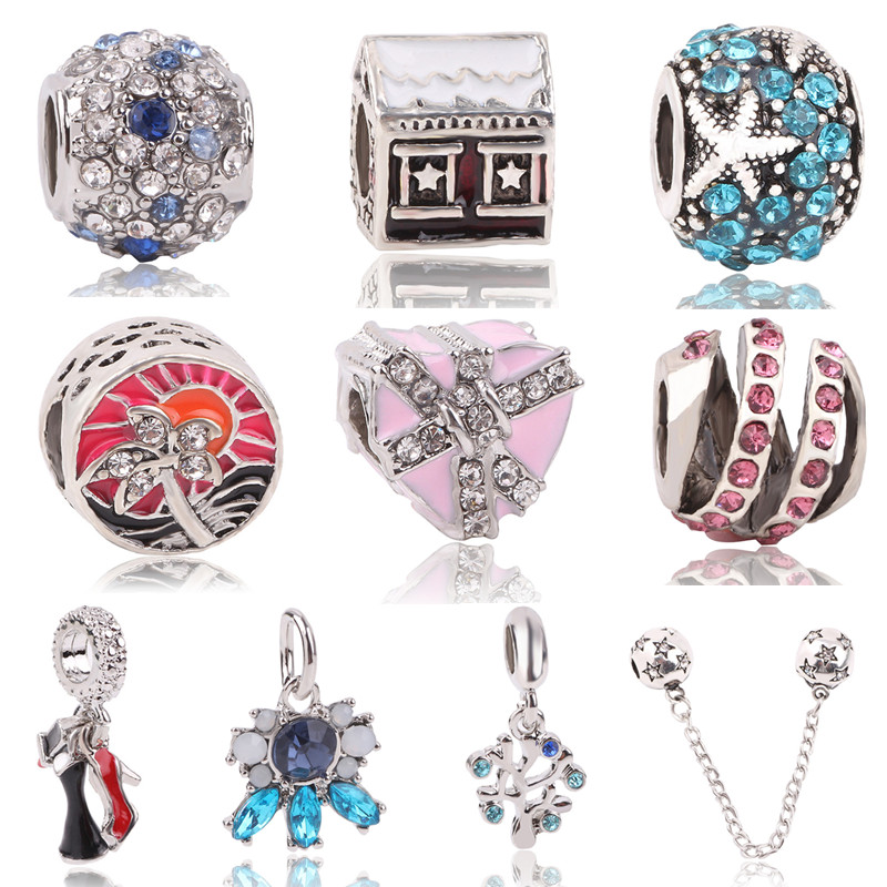 Couqcy Silver Plated Love Heart Flower Star House Crown Charm Bead Fits Original Pandora Charms Bracelet Best Berloque Gifts