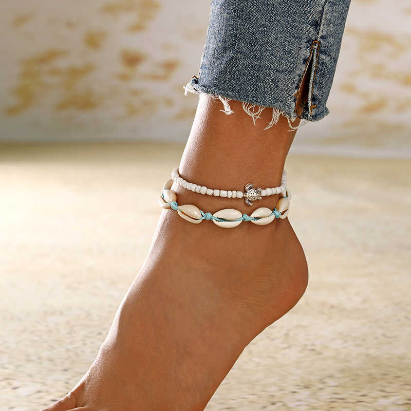 XIYANIKE Real Shell Stone Beads Anklet Weave Handmade For Women Fashion Wax String Lacing Foot Vintage Jewelry Bracelets Bangle