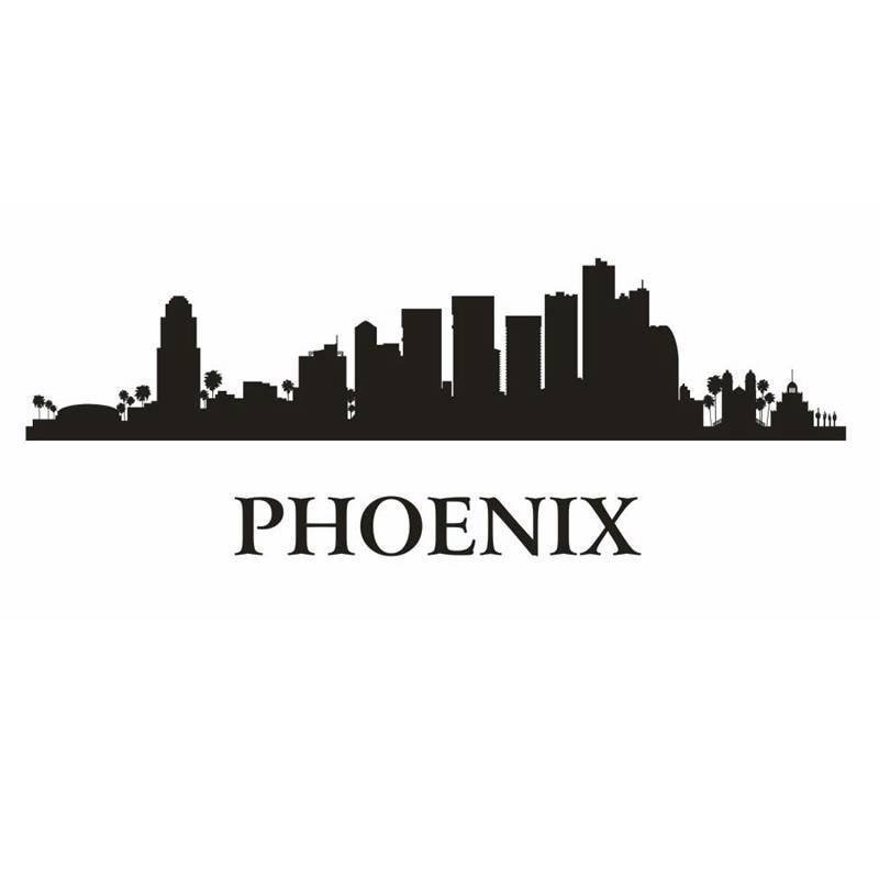 phoenix city decal landmark skyline wall stickers sketch decals poster parede home decor sticker