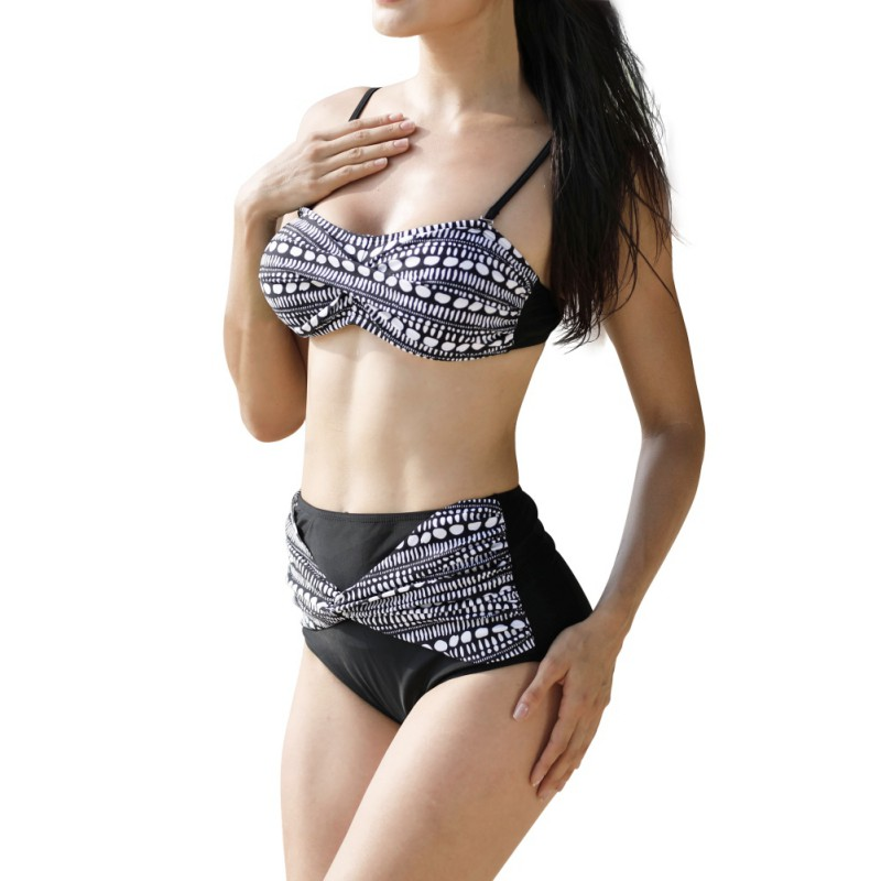 2pcs Suit Sexy Plus Size Women Swimming Suite Full Coverage Bikini Sets Sexy Dot Print Bikini Top & High Waist Bottom 2018