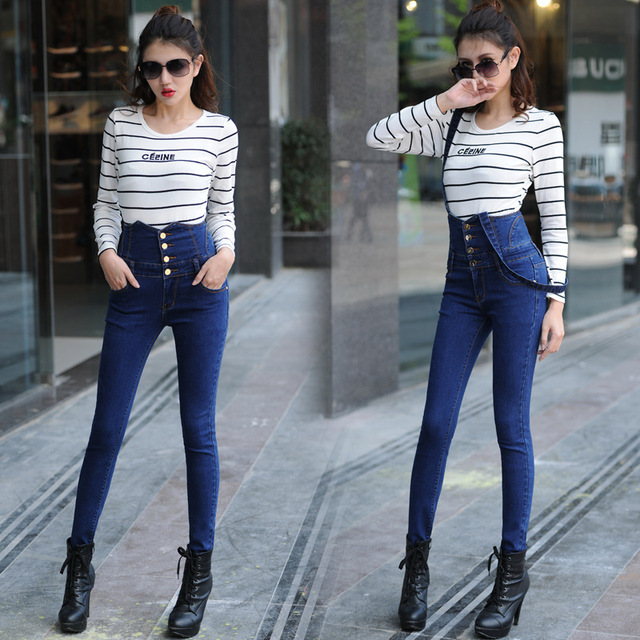 8308c559a347 H High Waist Denim Overalls Women Tight Push Up Jeans 2018 Stretch Denim  Jumper