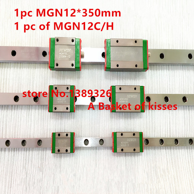 Free shipping for 12mm Linear Guide MGN12 L= 350mm linear rail way + MGN12C or MGN12H Long linear carriage for CNC X Y Z Axis