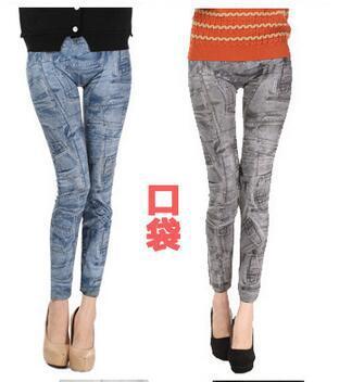 2016 new Warm Seamless Print Stretch Imitation Jeans Print Leggings pajamas thickening