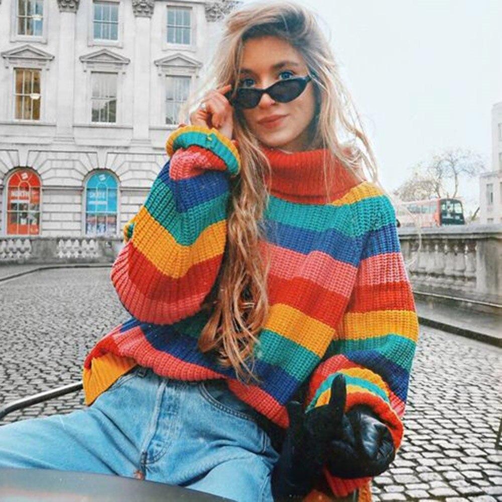 2018 Winter Boho Office Lady Casual Plus Size Women Tops Loose Turtleneck Stripe Female Fashion High Street Fall Sweaters