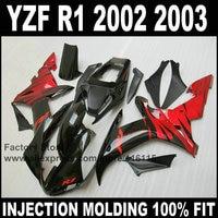 Пользовательские Бесплатная инъекции Обтекатели для Yamaha YZF R1 2002 2003 комплект обтекателей YZFR1 02 03 YZF R1 красное пламя в черный корпус части