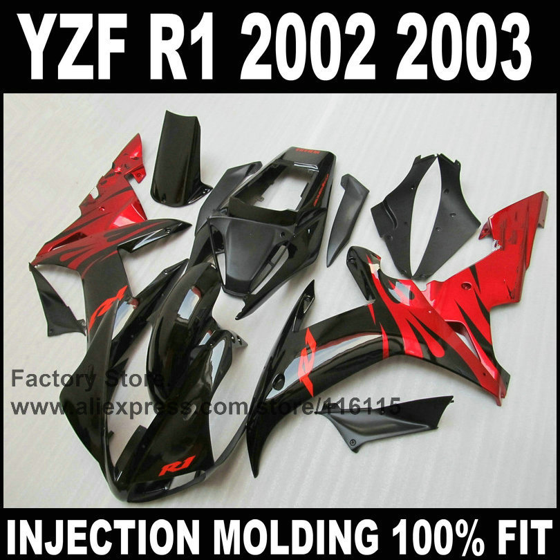 Custom free injection fairings for YAMAHA YZF R1 2002 2003 fairing kit YZFR1 02 03 YZF-R1 red flame in black body parts blue moto fairing kit for yamaha yzf1000 yzf 1000 r1 yzf r1 2000 2001 00 01 fairings custom made motorcycle bodywork injection