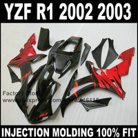 Custom free injection fairings for YAMAHA YZF R1 2002 2003 fairing kit YZFR1 02 03 YZF R1 red flame in black body parts