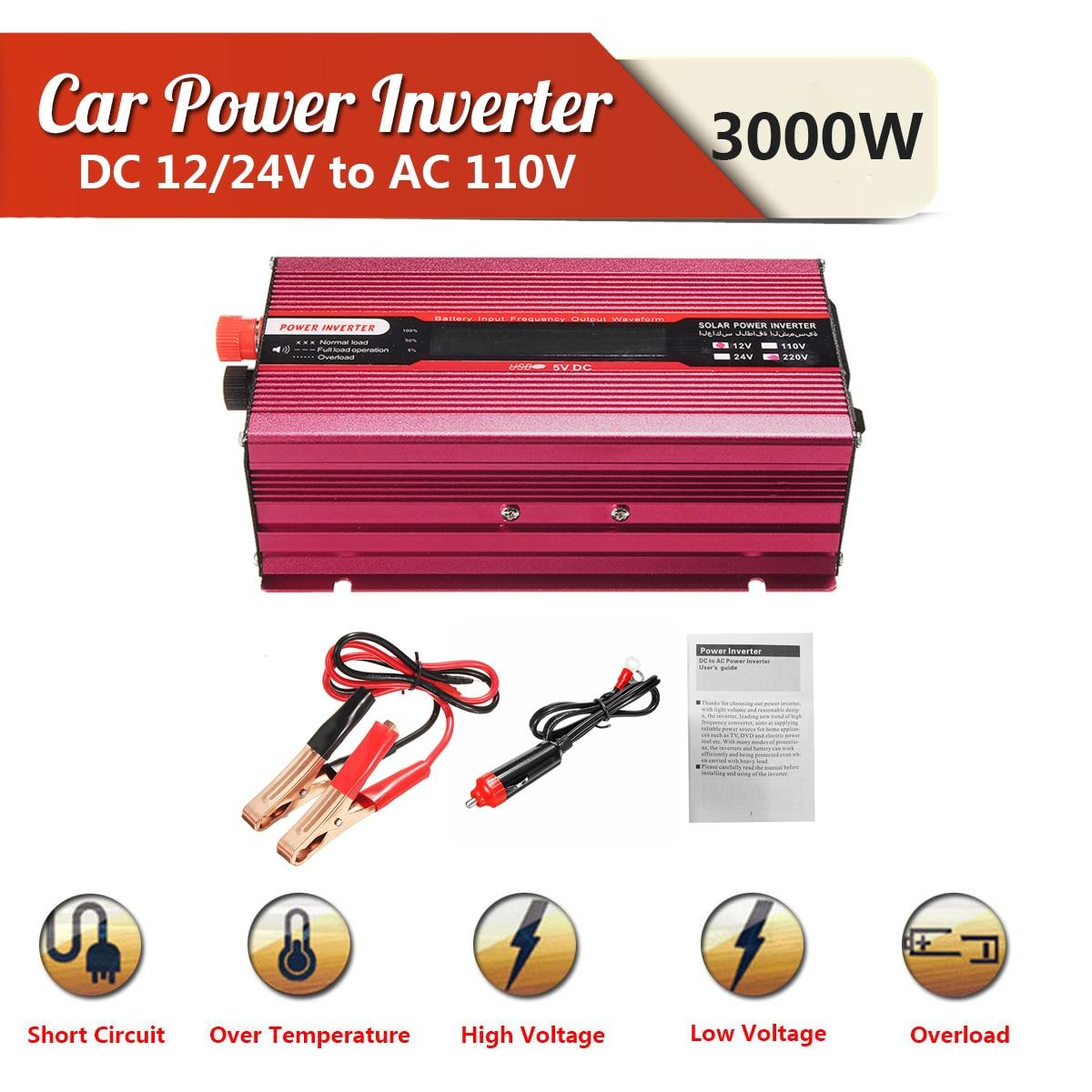 Car Power Inverter Voltage Transformer PEAK 3000W 12/24V To AC 220/110V USB Modified Sine Wave Converter Low Noise Multiple