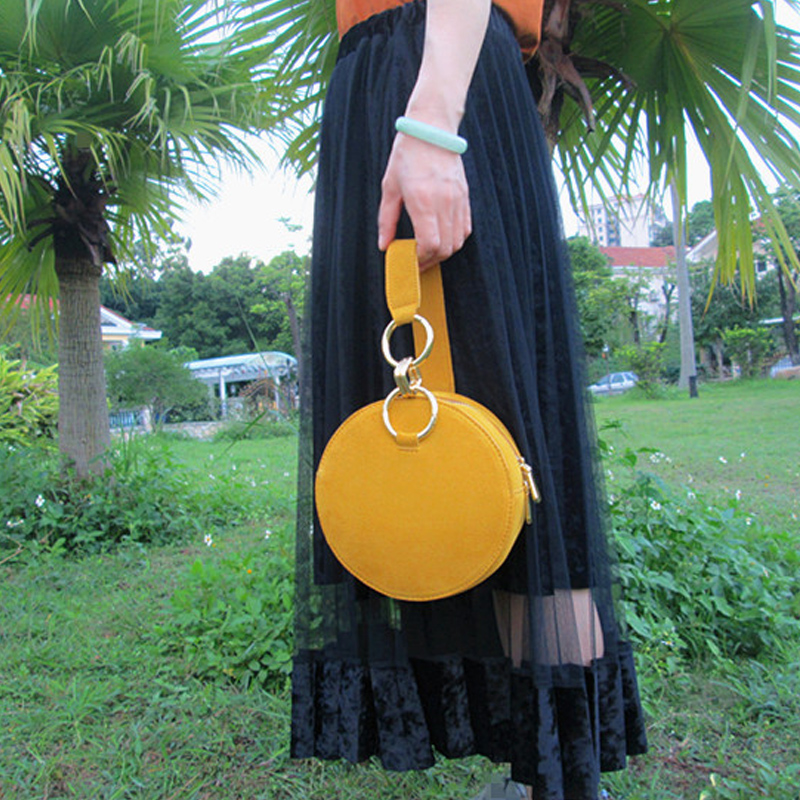 New Genuine Leather Bags Women Vintage Suede Tassel Small Yellow Circular Wirstlets Evening Bag Female Bolsos Nubuck leather