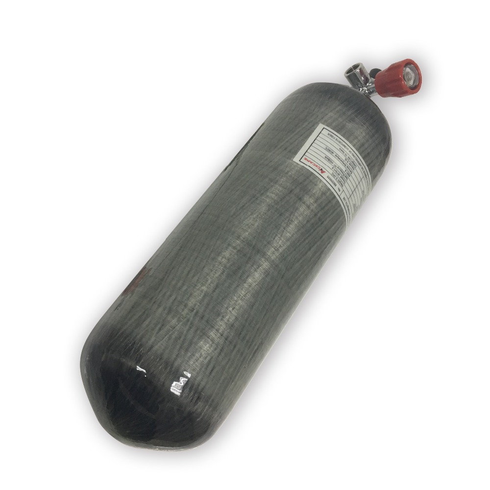 AC10911 Acecare Paintbal PCP Use Tank 9L 4500psi Carbon Fiber Gas Cylinder SCUBA Tank  With Red Valve-F