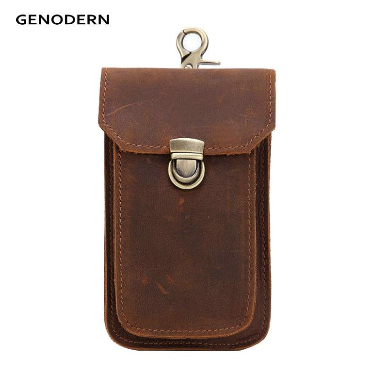 GENODERN Genuine Leather Men's Waist Bag With Belt Hook Slim Hip Bum Bag Travel Fanny Pack Functional Mobile Phone Pouch genodern 100