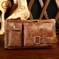 Vintage 100% Genuine Leather Waist Bag Pack Men Crazy Horse Small Fanny Pack Bum Bag Day Pack Belt Pouch Bags Man Bag Brown Hot