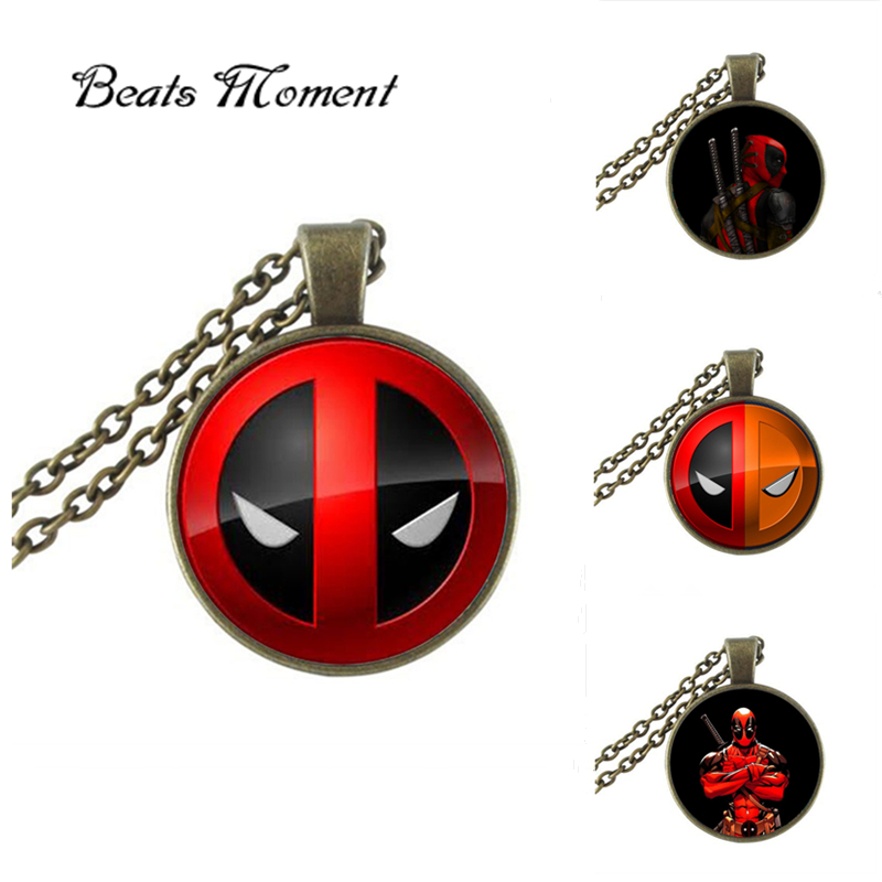 2017 New Trendy Deadpool Necklace Round Glass Pendant Japanese font b Anime b font Jewelry Silver