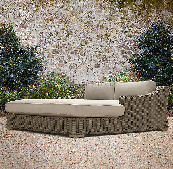 hot sale grey chaise garden rattan wicker lounge daybed with mainland