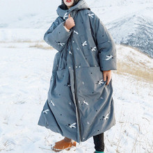 Jessica's Store Women New Winter Thick Warm Embroidery Hooded Oversized Grey Long White Duck
