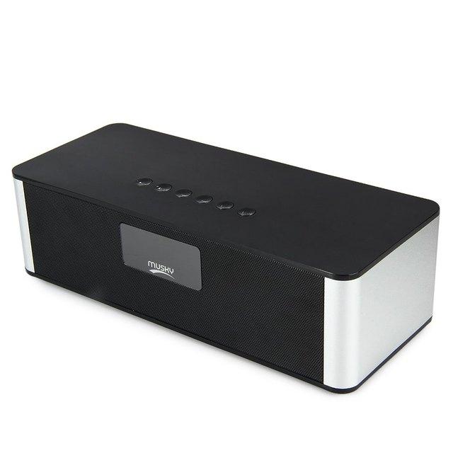 Almiscarado dy21l multimídia mini hifi speaker com fm estéreo aux v4.0 sem fio bluetooth super bass construído em mic boombox altifalante