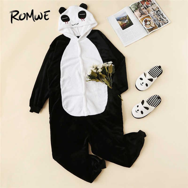 ROMWE черный и белый пижамы для женщин животных для девочек Теплые мягкие плюшевые Панда Onesie ночные рубашки с капюшоном зимние милые