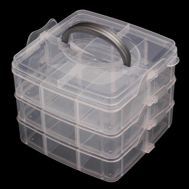 Plastic 18 Slots Adjustable Jewelry Organizer Beads Storage Box Case