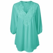 ZYFPGS Womens Tops And Blouses Plus Size Chiffon Shirt Woman Blouse Lace #D0077