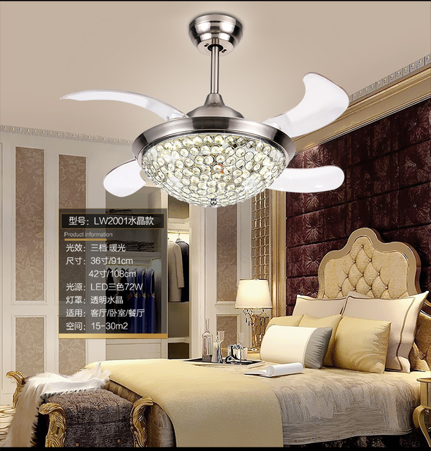 Invisible Crystal Chandelier Fan Light Dining Room Fan Light Chandelier  Living Room Through Simple Modern Fans