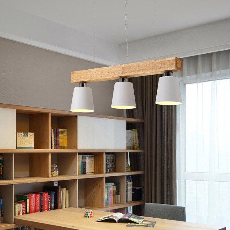 Suspension bois nordique E27 support lampe suspendue abat-jour en fer créatif moderne salle à manger cuisine ilot luminaire