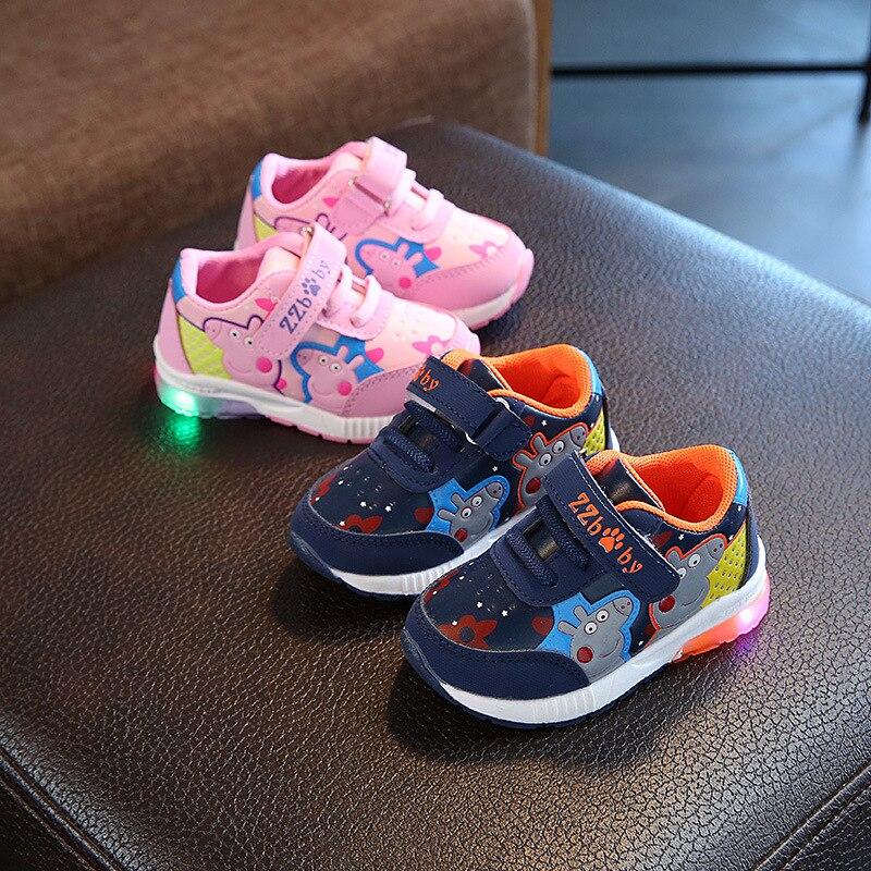 2018 alta calidad LED Zapatos Niños gancho ^ lazo fresco excelente zapatillas bebé iluminación niñas zapatos brillantes calzado